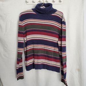 Vintage Colourful Striped Ribbed Turtleneck